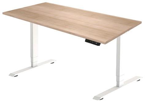 Zit sta bureau Huislijn elektrisch 160x80 cm, blad eiken robson en frame wit met display bediening.