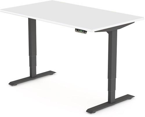 Zit sta bureau Huislijn elektrisch 200x80 cm, blad zwart en frame aluminium met display bediening.