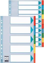 Tabbladen Esselte A4 2/4/23 gaats 5-delig karton assorti kleuren.