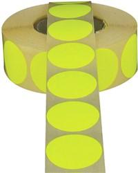 Etiket 25mm rond fluor geel permanent 1000 stuks.
