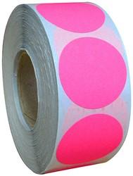 Etiket 25mm rond fluor roze permanent 1000 stuks.