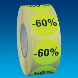 Etiket 35mm rond fluorgeel zwarte bedrukking -60% permanent op rol 1000 stuks.