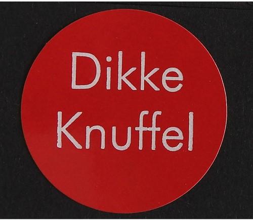 Cadeau etiket ø35mm rood met witte opdruk: 'Dikke Knuffel' 500 etiketten.