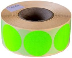 Etiket 25mm rond fluor groen permanent 1000 stuks.