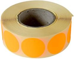 Etiket 25mm rond fluor oranje permanent 1000 stuks.