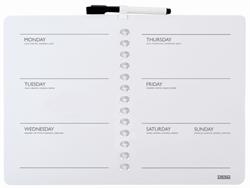 Whitebord Desq 28x40cm weekplanner zonder rand met weekagenda opdruk inclusief stift.