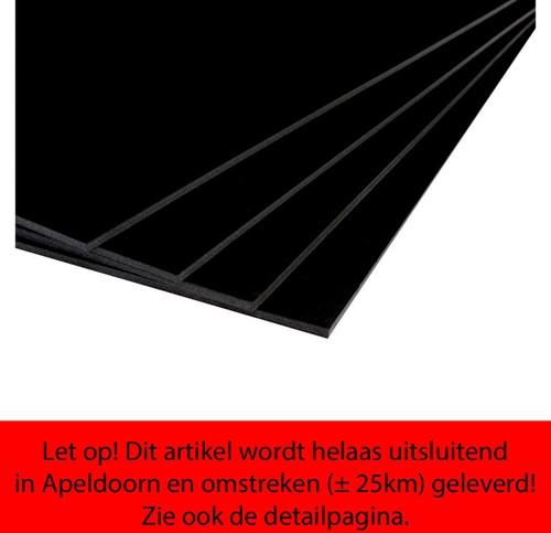 Foamboard 50x70cm dikte 5mm enkelzijdig zwart CFK vrij.