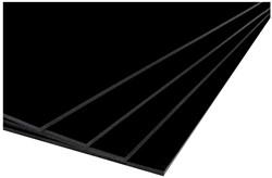 Foamboard 50x70cm dikte 5mm enkelzijdig zwart CFK vrij. Afname per 25 stuks.