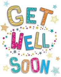 Wenskaart + envelop Artige collectie Maximaal formaat A4 opdruk: Get Well Soon AT2007.