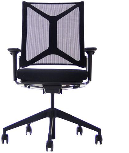 Bureaustoel Girsberger Camiro rug netbespannen zwart, zitting gestoffeerd zwart, armleggers 4d, voetkruis kunststof zwart en wielen zacht.
