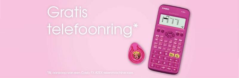 Gratis telefoonring bij Casio rekenmachine roze