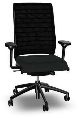 Bureaustoel Interstuhl Hero 172 zitting zwart en rug netbespannen.