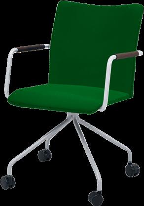 Vergaderstoel Huislijn Alfa HS0231 hoge rug kleur groen 4-teens spinframe.