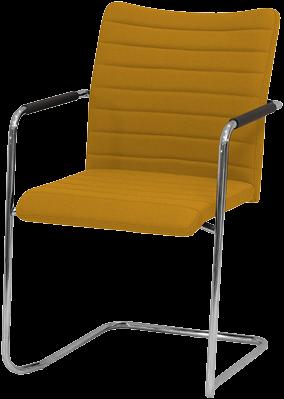Vergaderstoel Huislijn Alfa HS0210 hoge rug stoffering kleur geel en frame slede.