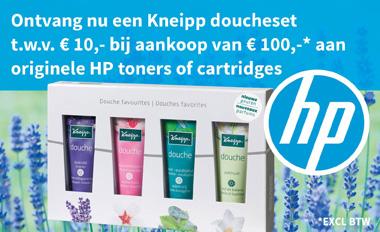 Actie HP toners en cartridges met gratis Kneipp doucheset!