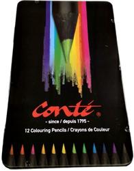 Kleurpotloden Conte 12 stuks metalen etui assorti kleuren.