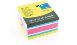 Kubusblok zelfklevend Info-Notes 75x75mm assorti kleuren brilliant 450 vel.