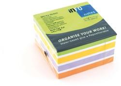 Kubusblok zelfklevend Info-Notes 75x75mm assorti color mix 450 vel.