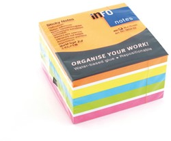Kubusblok zelfklevend Info-Notes 75x75mm assorti kleurten brilliant 450 vel.