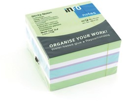 Kubusblok zelfklevend Info-Notes 75x75mm assorti kleuren brilliant 450 vel wit.