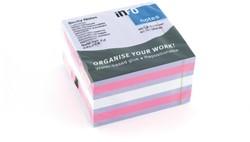 Kubusblok zelfklevend Info-Notes 75x75mm assorti  450 vel violet roze.