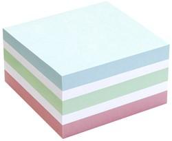 Kubusblok zelfklevend Info-Notes 75x75mm assorti kleuren pastel 400 vel.