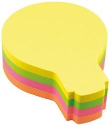 Zelfklevend memoblok Info-Notes shaped 53x68mm gloeilamp assorti kleuren 200 vel.
