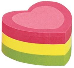 Zelfklevend memoblok Info-Notes shaped 50x50mm hart assorti kleuren 225 vel.