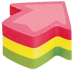 Zelfklevend memoblok Info-Notes shaped 50x50mm pijl assorti kleuren 225 vel.