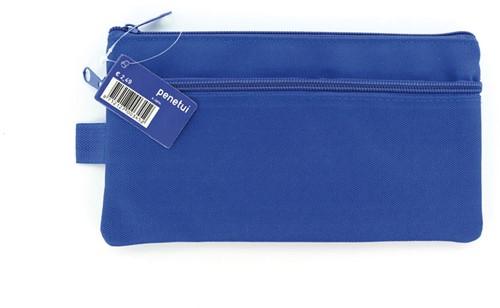 Schooletui Kangaro 220x120mm met 2 ritsen kleur blauw.