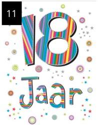 Wenskaart + envelop Artige collectie Maximaal formaat A4 opdruk: 18 jaar AT2011.