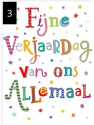 Wenskaart + envelop Artige collectie Maximaal formaat A4 opdruk: Fijne verjaardag van ons allemaal AT2003.