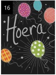 Wenskaart + envelop Artige collectie Maximaal formaat A4 opdruk: Hoera AT2016.
