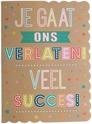 Wenskaart + envelop Artige collectie Maximaal formaat A4 opdruk: Je gaat ons verlaten! Veel succes! AT2018.