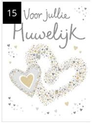 Wenskaart + envelop Artige collectie Maximaal formaat A4 opdruk: Voor jullie huwelijk AT2015.