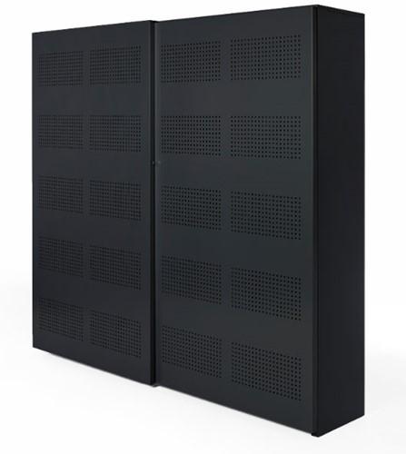 Akoestische schuifdeurkast Nice Price 192hx194bx46d cm kleur zwart voorzien van 8 legborden.