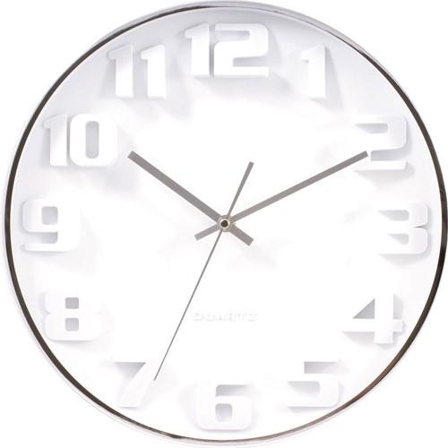 Wandklok TIQ diameter 335mm aluminium witte wijzerplaat silent move.