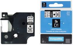 Labeltape D1 12mmx7m zwart op wit (Dymo 45013 compatible).