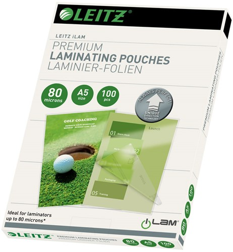 Lamineerhoes Leitz UDT A5 2x80 micron glanzend 100 stuks.