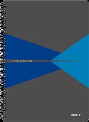 Notitieboek Leitz Office A4 spiraalgebonden kartonnen kaft blauw - 90 vel 90 grams gelijnd papier.