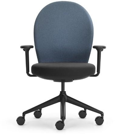 Bureaustoel Marva rug rond gestoffeerd grijs blauw, ziting gestoffeerd zwart, armleggers 4d, voetkruis zwart kunststof en wielen zacht.