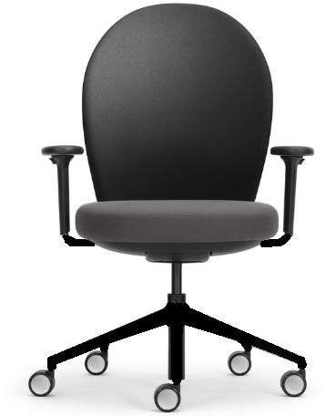 Bureaustoel Marva rug rond gestoffeerd zwart. ziting gestoffeerd, armleggers 2d, voetkruis zwart kunststof en wielen zacht.