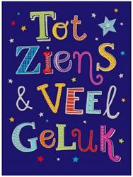 Wenskaart + envelop Artige collectie Maximaal formaat A4 opdruk: Tot ziens & veel geluk AT2019.