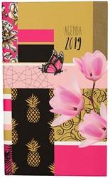Zakagenda 2019 Ryam Memoplan 7 Plus 7 dagen per 2 pagina's 9x15,1cm staand omslag Pattern Patchwork dessin 01 (rose) wit papier.