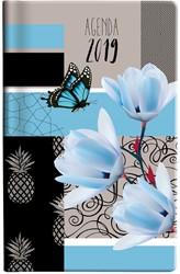 Zakagenda 2019 Ryam Memoplan 7 Plus 7 dagen per 2 pagina's 9x15,1cm staand omslag Pattern Patchwork dessin 02 (blauw) wit papier.