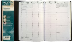 Agenda 2019 Quo Vadis Minister 7 dagen per 2 pagina's 16x24cm omslag zwart wit papier.