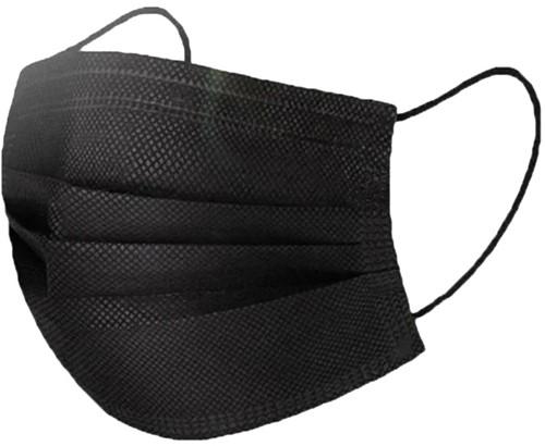 Mondkapje 3-laags zwart 175x95mm doos á 50 stuks.