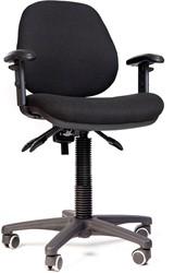 Bureaustoel LZ160, zitting en rug gestoffeerd zwart.