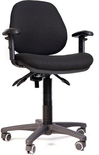 Bureaustoel Orchid MTM LZ160, zitting en rug gestoffeerd zwart, voetkruis kunststof zwart en wielen zacht.