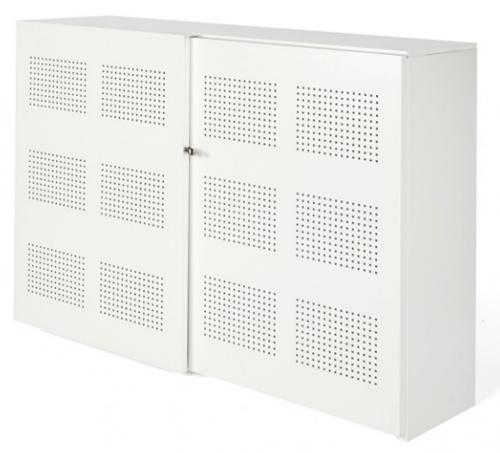 Akoestische schuifdeurkast Nice Price 120hx194bx46d cm kleur wit voorzien van 6 legborden.